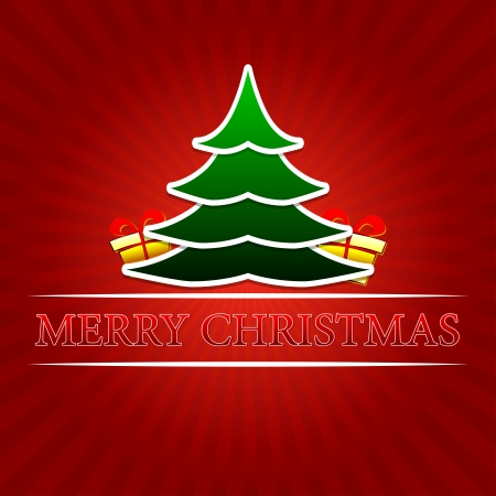 twelfth night: merry christmas - text with green christmas tree and golden gift boxes signs over red rays Stock Photo