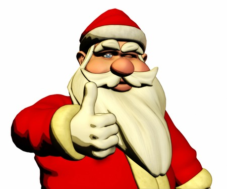 pere noel: 3d Santa Claus is wishing Good luck with thumb and wink