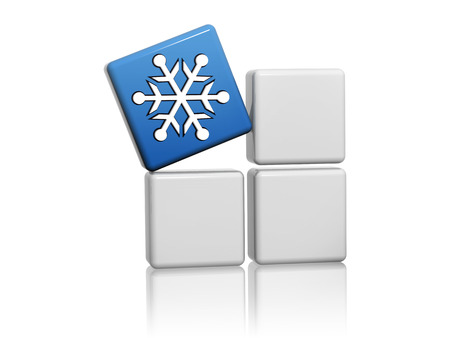icebox: snowflake sign - 3d blue cube with white symbol on grey boxes, winter seasonal concept Stock Photo