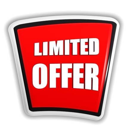 limited offer - 3d red banner with white text, business shopping concept photo