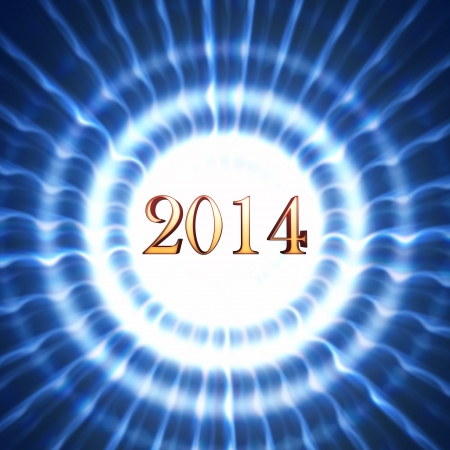 golden new year 2014 in shining white blue striped circles with rays photo