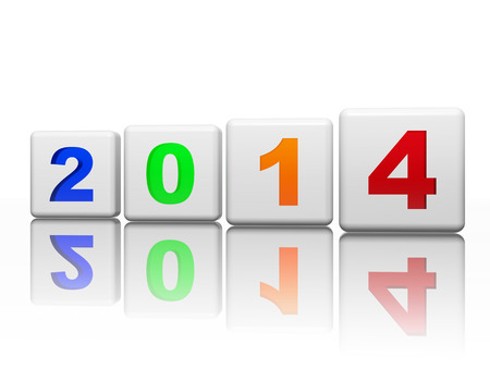new year 2014 in 3d white cubes with pied figures, holiday concept Stock Photo - 24155340