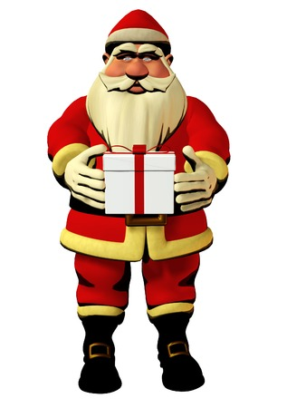 pere noel: Santa Claus hold in hands gift box - isolated 3d model, christmas holiday illustration Stock Photo
