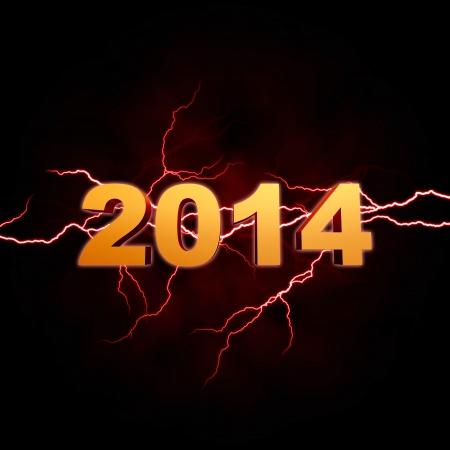 twelfth night: golden new year 2014 with lightning over dark  Stock Photo