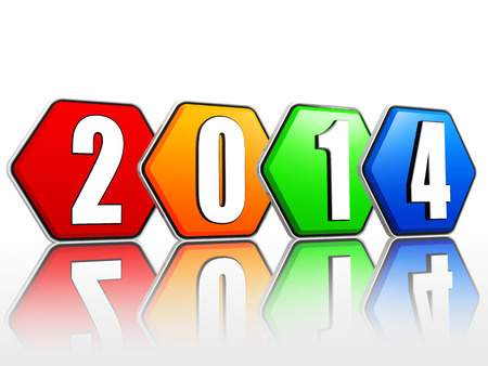 new year 2014 - white ciphers on 3d pied hexagons buttons arranged in line photo