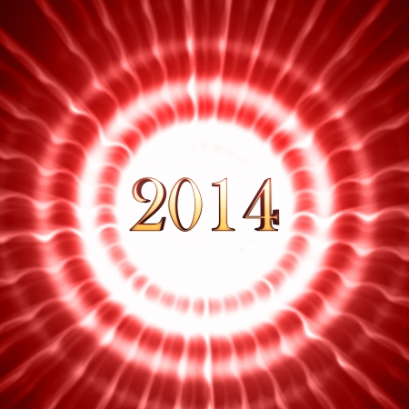 golden new year 2014 in shining white red striped circles with rays photo