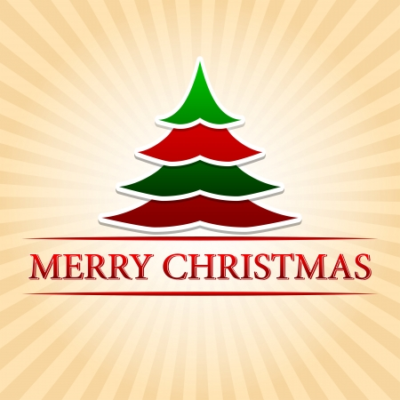 twelfth night: merry christmas - text with red green christmas tree sign over beige rays Stock Photo