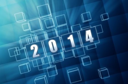 new year 2014 - text in 3d blue glass boxes with white figures, holiday concept Stock Photo - 24155355