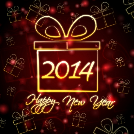 Happy New Year 2014 - text and golden gift boxes signs over abstract red card with holiday lights photo
