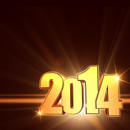 golden new year 2014 with light rays over shining brown with lens flare photo