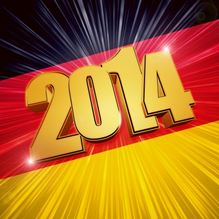 twelfth night: new year 2014 - 3d golden figures with rays and shining German flag