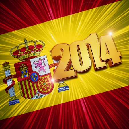 new year 2014 - 3d golden figures with rays and shining Spanish flag Stock Photo - 24499710