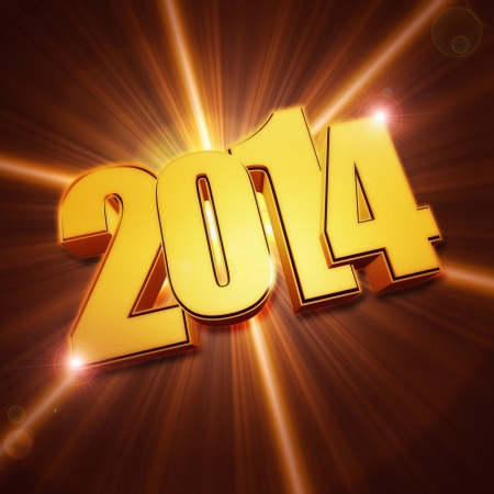 golden new year 2014 with light rays over shining brown background with lens flare in the middle photo