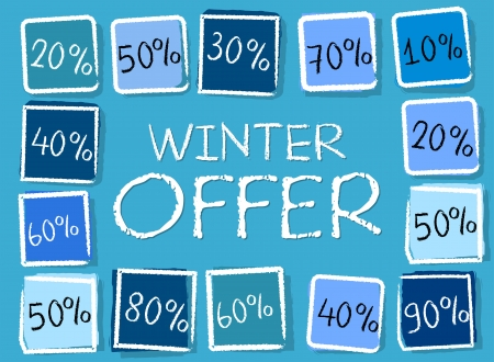 winter offer and different percentages - retro style blue label with text and squares, business seasonal concept photo