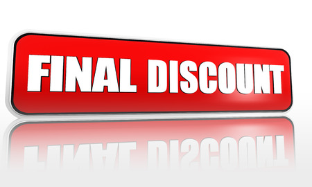 final discount - 3d red banner with white text, business shopping concept photo