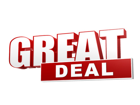 text great deal - 3d red white banner, letters and block, business concept