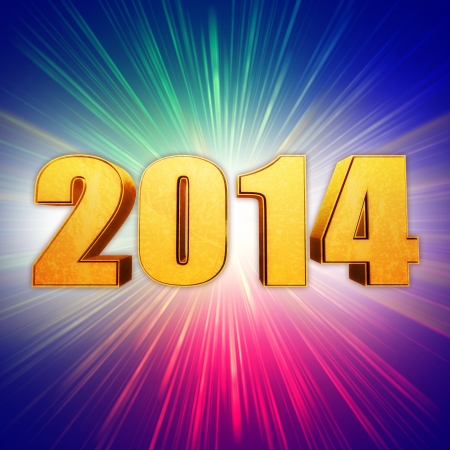 golden new year 2014 with light rays over rainbow shining background photo