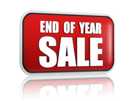 the end of the year: end of year sale button - 3d red banner with white text, business seasonal concept