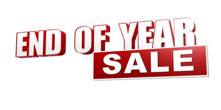 本文の末年販売 3 d 赤白色のバナー、文字、ブロック、季節のビジネス コンセプト