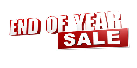 the end of the year: text end of year sale - 3d red white banner, letters and block, business seasonal concept