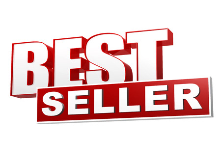 top seller: text best seller - 3d red white banner, letters and block, business shopping concept