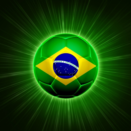 football - 3d shining soccer ball with Brazilian flag with lights and rays over green background photo