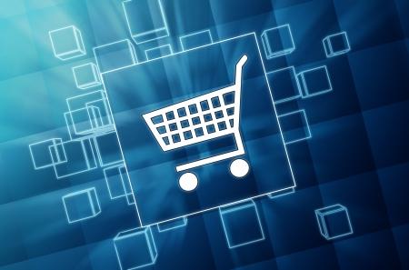 ショッピング カートのサインオンがあり、白色の絵記号、ビジネス e コマース概念アイコンと 3 d の青いガラス ボックス