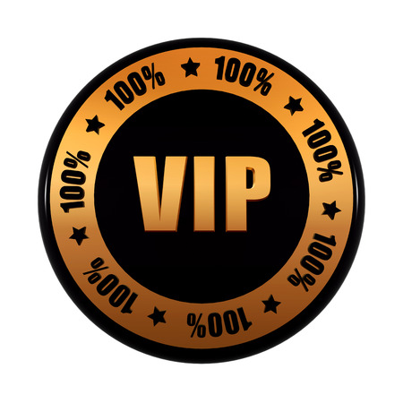 notability: VIP 100 percentages - text in 3d golden black circle label with stars, isolated button, advertisement concept