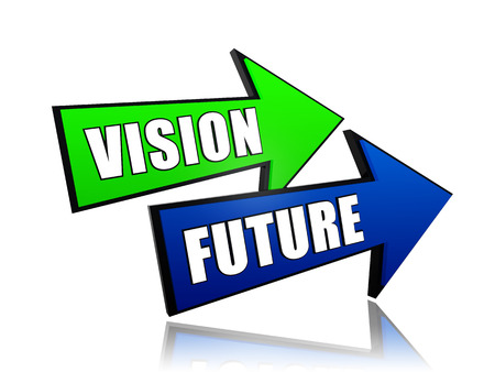 vision future - text in 3d arrows, business growth concept words
