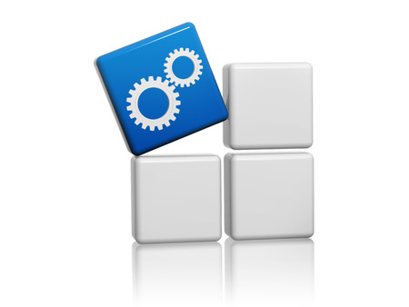 gear wheels sign - 3d blue cube with white symbol on grey boxes, technical support concept photo