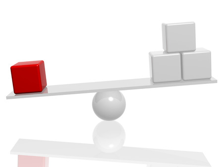 equipoise: balance with white and red 3d cubes Stock Photo