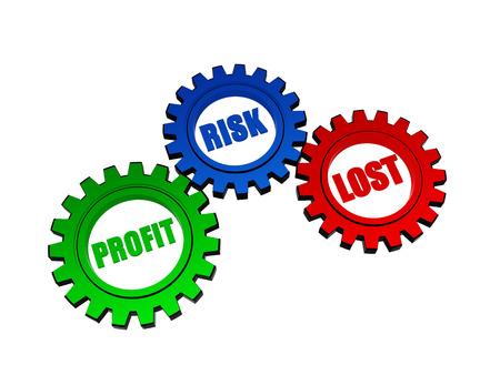 perdidas y ganancias: beneficios, riesgos, perdido - texto en ruedas dentadas de color 3D, palabras concepto de negocio
