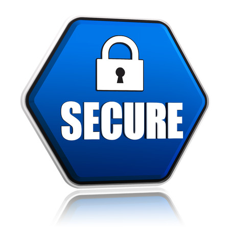 secure and padlock sign - 3d blue hexagon banner with white text and symbol, technical security concept photo