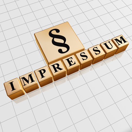 impressum and paragraph sign - text and symbol in 3d golden cubes with black letters, business concept photo