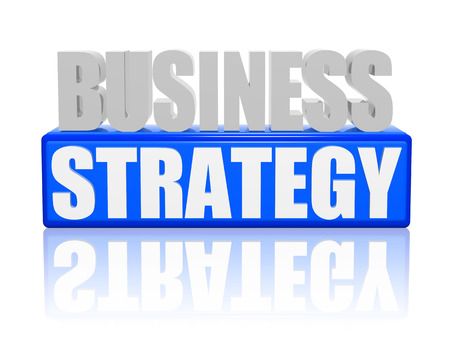 business strategy text - 3d blue and white letters and block, business concept words photo