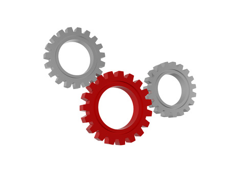 gear wheels signs - 3d red and white isolated figures, technical support concept photo