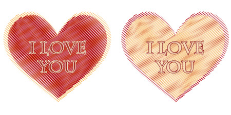 text I love you in two striped hearts, beige and red photo