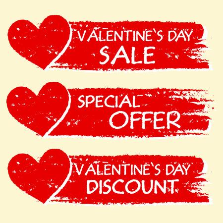 세 개의 빨간색으로 그려진 배너 마음 텍스트 - 발렌타인 데이 판매 및 할인, 특별 제안