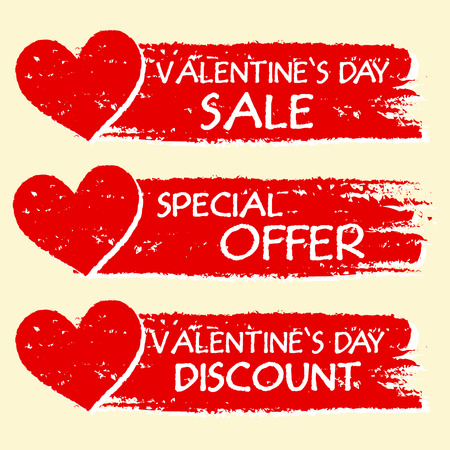 rebate: valentines day sale and discount, special offer - text with hearts in three red drawn banners Stock Photo