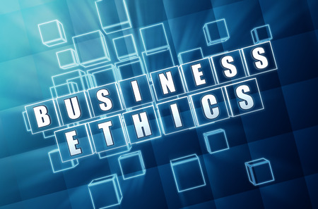 scruple: business ethics - text in 3d blue glass cubes with white letters, business concept words