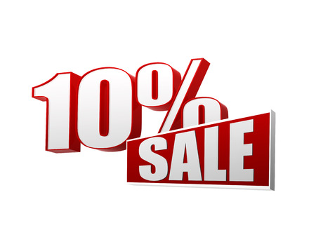 abatement: 10 percentages sale text - 3d red and white letters and block, business shopping concept