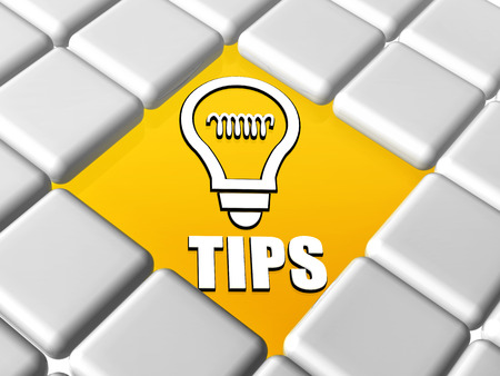 sos: tips and bulb symbol - 3d letters and sign over yellow between grey boxes keyboard, business support concept Stock Photo