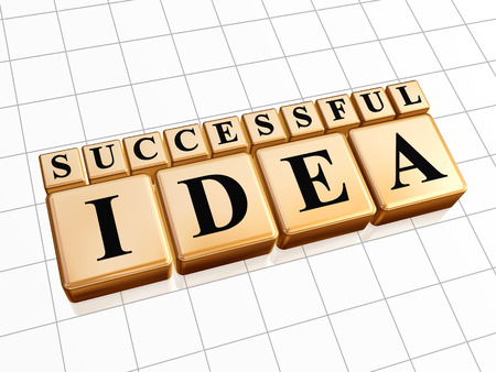 realization: successful idea - text in 3d golden cubes with black letters, business creativity concept words