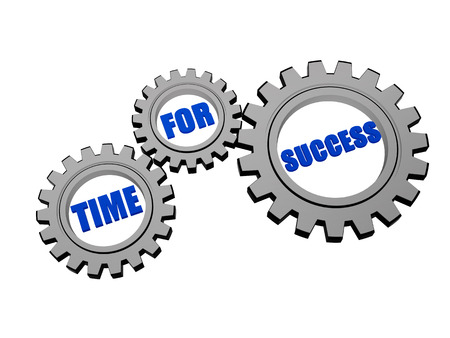 time for success - text in 3d silver grey metal gear wheels, business growth concept photo