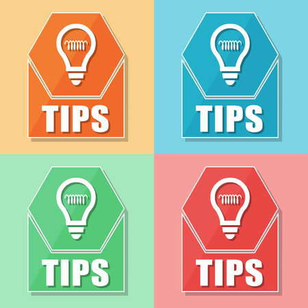 tip up: tips and bulb symbol, four colors web icons, business support concept