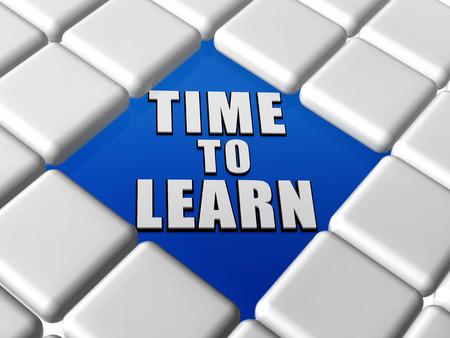 istruzione: tempo per imparare - lettere 3d su blu tra il grigio tastiera scatole, concetto di crescita educazione Archivio Fotografico