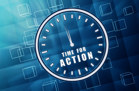 provocation: time for action with clock - text in 3d blue glass cubes with white letters and sign, business motivation concept Stock Photo