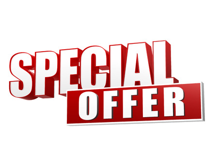 rebate: special offer text - 3d red and white letters and block, business shopping concept