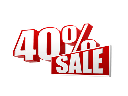 40 percentages sale text - 3d red and white letters and block, business shopping concept photo