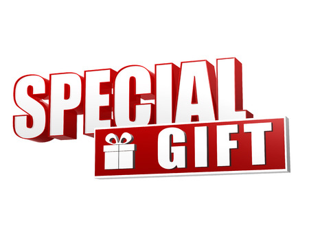 special gift and present box symbol - text in 3d red and white letters and block, business holiday concept photo